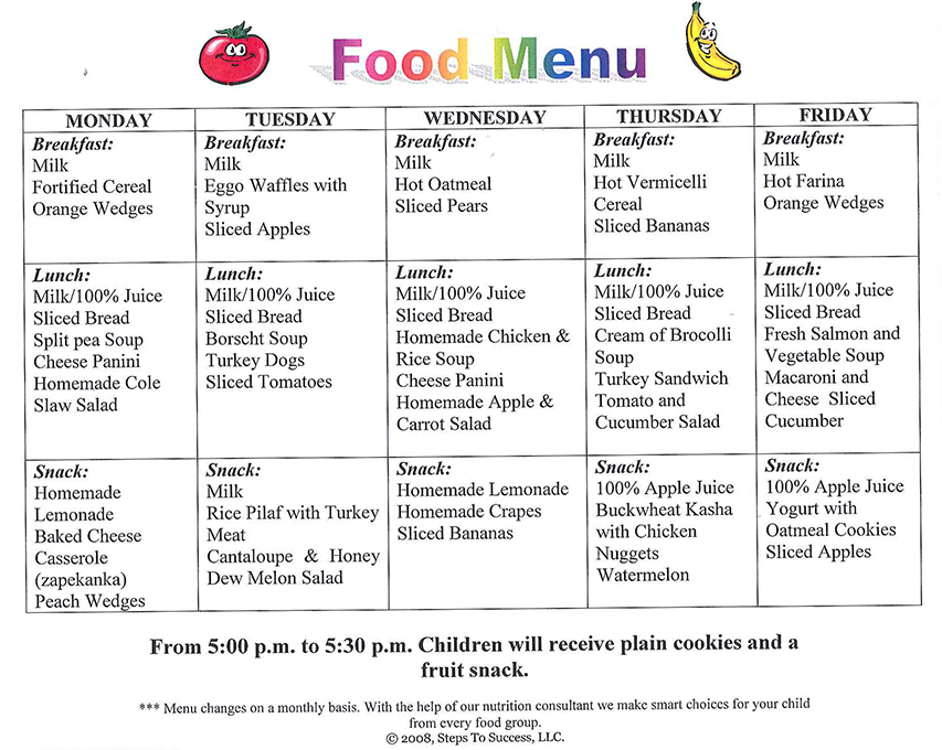 daycare food menu template - food menu steps to success daycare and preschool